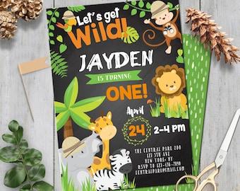 SELF EDITING Safari Birthday Invitation Party Invite Zoo Animal Jungle Chalkboard First Any Age A147 C