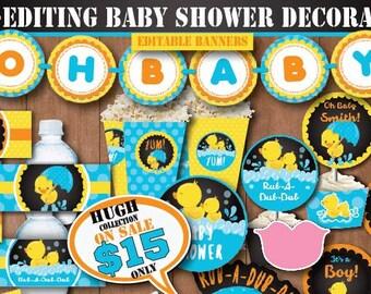 Self-Editing Rubber Duck Baby Shower Decoration-Printable Rubber Ducky Baby Shower Decors-Yellow Duck Party-Splish Splash Party-B408-C