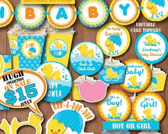 Self-Editing Rubber Duck Baby Shower Decoration-Printable Rubber Ducky Baby Shower Decors-Yellow Duck Party-Splish Splash Party-B408-B
