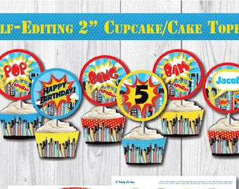 Self Editing Superhero Birthday Cupcake Toppers Printable Girl Party Circles First Any Age Super Hero A112 2