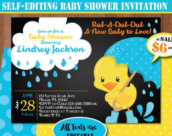 Duck baby shower etsy rubber duck baby shower invitation self editing chalkboard rubber ducky baby shower invite printable yellow duck party invitation 408 3 c1 filmwisefo