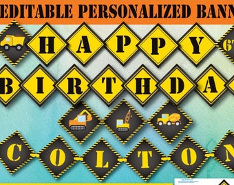 Instant Download Editable Construction Birthday Decoration Banner Self Editing Printable Party