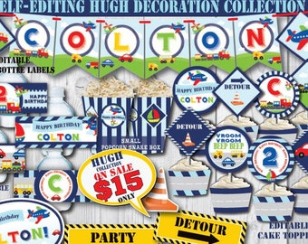 Self Editing Transportation Birthday Decorations Printable Party Decors Airplane Car Train Truck First Any Age A109