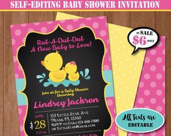 Rubber Duck Baby Shower Invitation-Self-Editing Chalkboard Rubber Ducky Baby Shower Invite-Printable Yellow Duck Party Invitation-B408-P