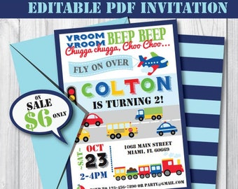 Transportation Birthday Invitation-Self-Editing Printable Invite-Instant Download-Airplane Car Train Truck-First Birthday-Any Age-A109