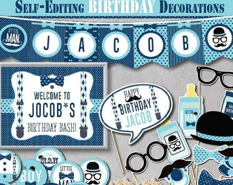 Self Editing Little Man BIRTHDAY Decoration Kit Printable Mustache Decors Bow Tie Gentleman First Birthday Any Age A148 K