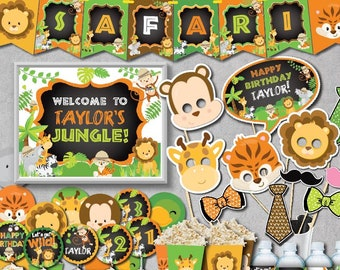 SELF EDITING Safari Birthday Decoration Kit Party Decorations Zoo Jungle Decors First Any Age A147