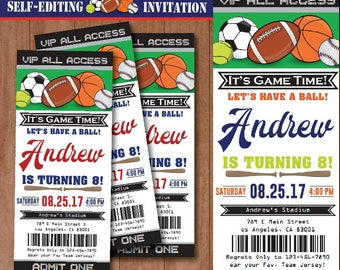 All Star Sport Birthday Invitation-SELF-EDITING Sport invitation-All Star Party Ticket-Football-Baseball-Basketball-Soccer-Tennis-A136-B