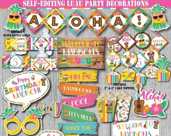 Self Editing Luau Party Decoration Kit Birthday Printables Hawaiian Pineapple Pool Summer First A126 K