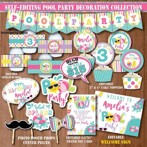 Self Editing Pool Party Decorations Printable Birthday