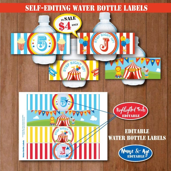 CIRCUS Birthday Water Bottle Labels SELF EDITING Carnival