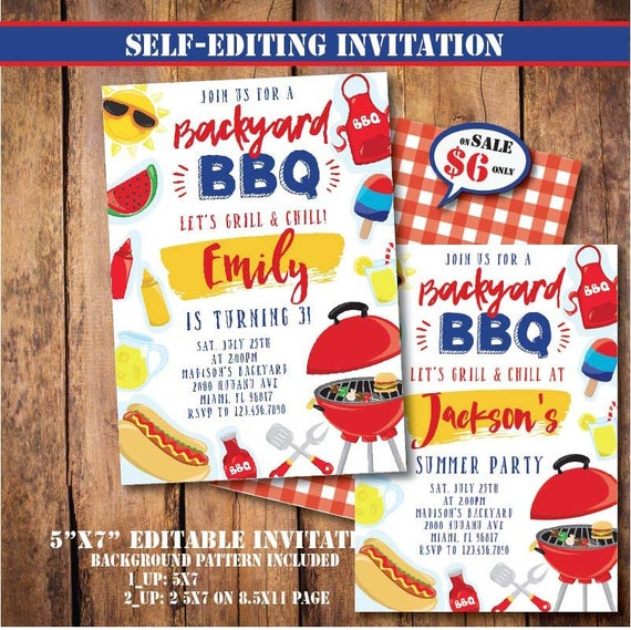 Self Editing BBQ Party Invitation Printable Backyard Birthday Pool Summer Side First Any Age A133