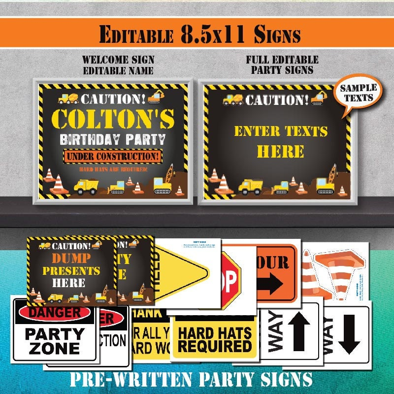 Instant Download Editable Construction Birthday Party
