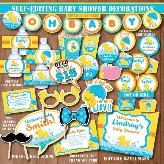 Self Editing Rubber Duck Baby Shower Decoration Printable Rubber Ducky Baby Shower Decors Yellow Duck Party Splish Splash Party B408 B