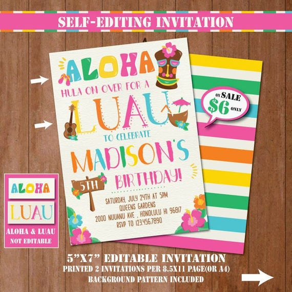 Self Editing Luau Birthday Party Invitation