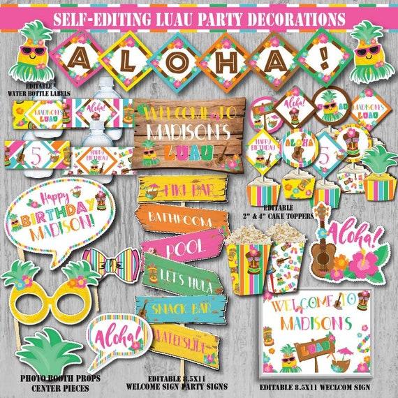 Self Editing Luau Party Decoration Kit Birthday