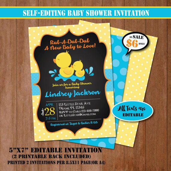 Rubber Duck Baby Shower Invitation Self Editing Chalkboard Etsy