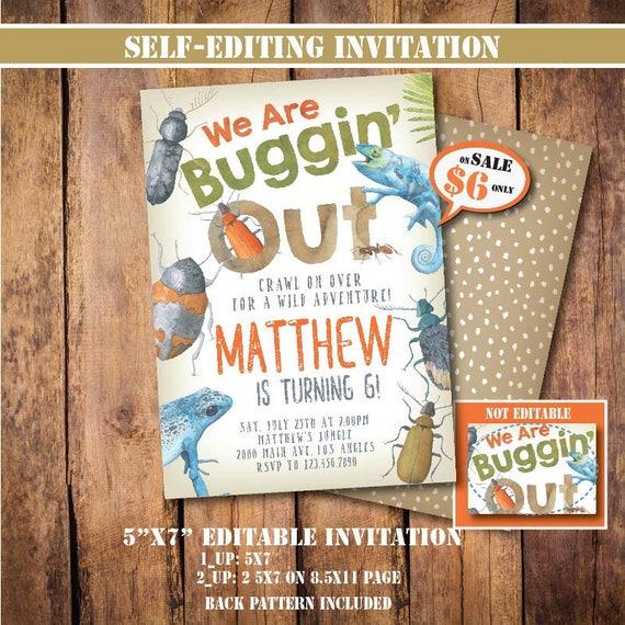 Self Editing Bug Birthday Invitation Printable Party