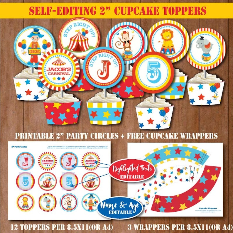 CIRCUS Birthday Cupcake Toppers W Free Wrappers SELF EDITING