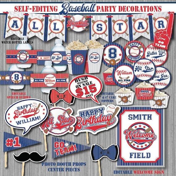 SELF EDITING All Star Baseball Birthday Decorations Printable