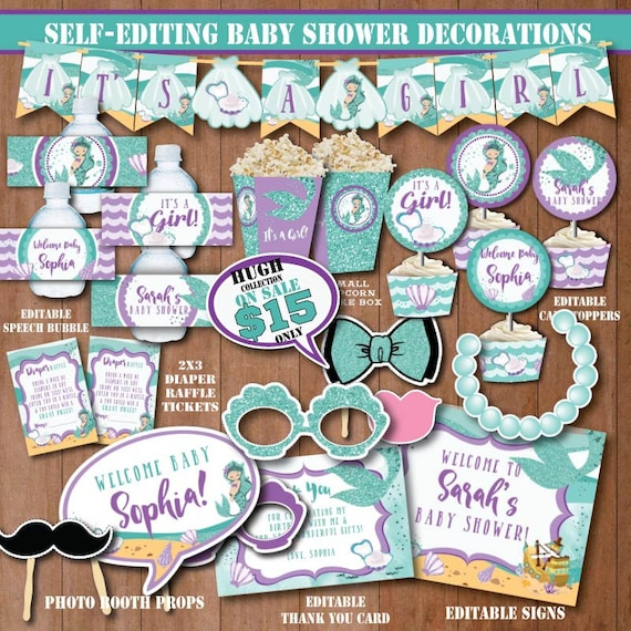 Self Editing Little Mermaid Baby Shower Decorations Printable Under