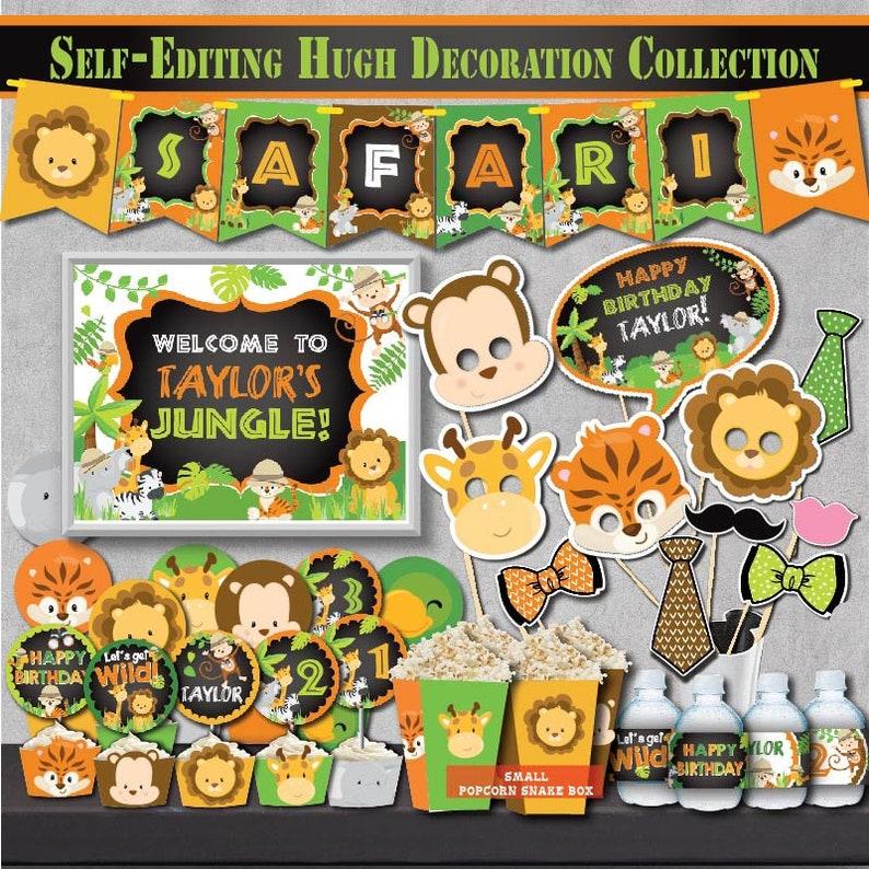 SELF EDITING Safari Birthday Decoration Kit