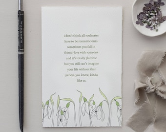 Friend Soulmate Just Because Card | galentines day, friendship card, honest card, vulnerable card, girlfriend card, meaningful friendship
