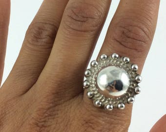 Sun Shaped Native Sterling Ring Size 8