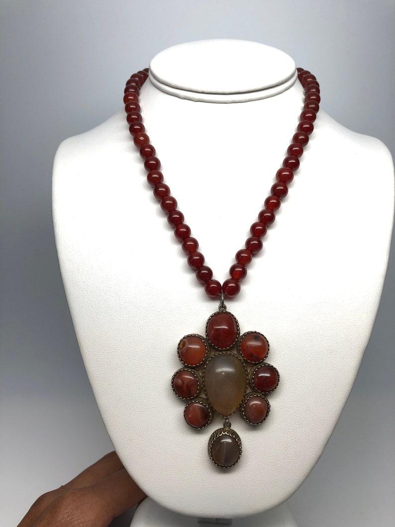 Large Carnelian Agate Pendant Ethnic Necklace Silver,Mogul Mughal Style Vintage