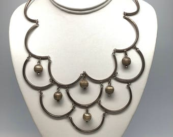 Scalloped Sterling Silver Necklace, Textured, 1960s