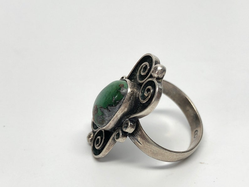 Sterling Silver Green Turquoise Mexican Ring Size 7.75