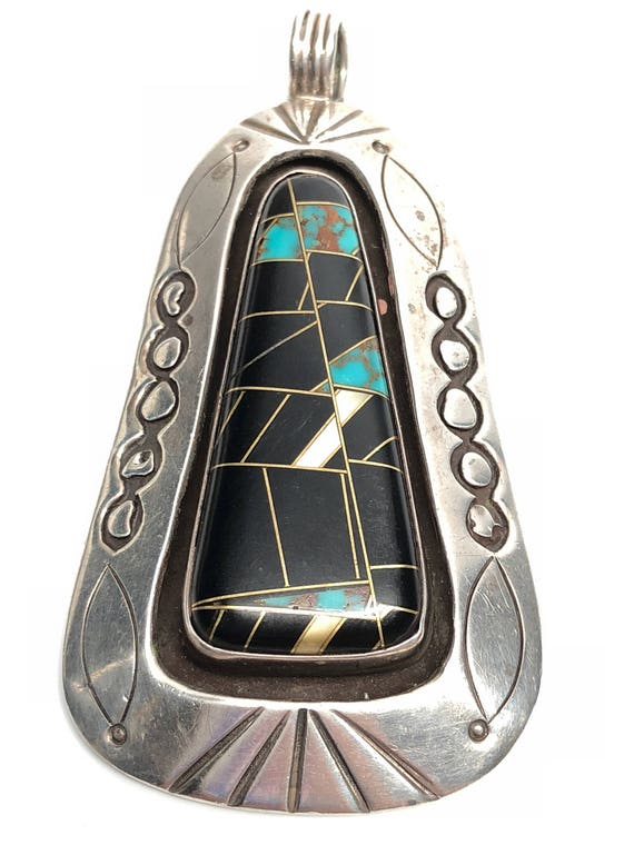 Sterling Silver 950 Stamped Large Genuine Inlaid Stone Pendant.