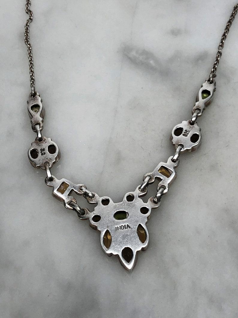 India Neutral Colors Smokey Quartz Citrine Multi Gemstone Necklace Peridot Bezel Set Adjustable Length 16 to 19 inches long