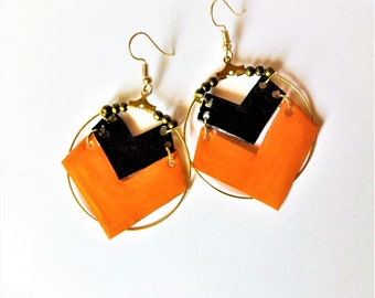 Orange and black hoops