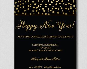 new years eve party invitation gold confetti new year party invitation new years cocktail party invitation