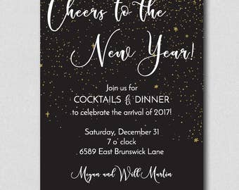 new years eve party invitation gold confetti new year party invitation new years cocktail party invitation