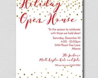 Holiday Party Invitation Holiday Cocktail Party Invite Red Etsy