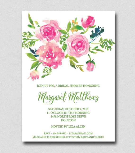 Watercolor rose bouquet bridal shower invitation floral etsy image 0 filmwisefo