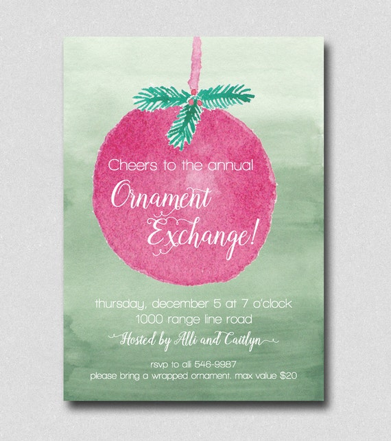 ornament exchange invitation christmas party invitation etsy