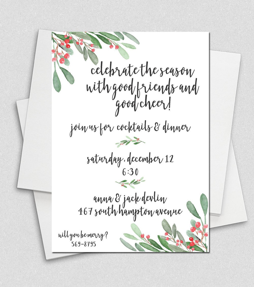 Holly Holiday Dinner Party Christmas Party Invitation Ladies | Etsy