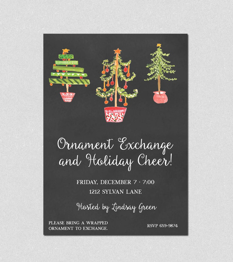 Holiday Cocktail Party Holiday Party Invitation Ornament Exchange Invite Adult Holiday Party Christmas Party Holiday Luncheon