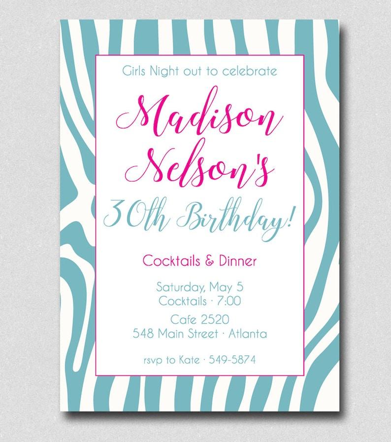 Birthday Party Invitation Zebra Print 40th