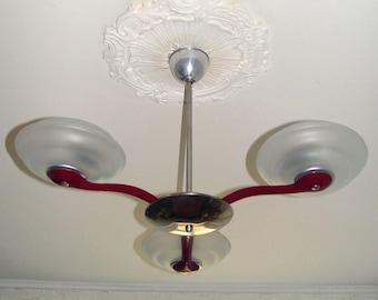 Old antique ceiling hanging lamp 3 arm aluminum orig. around 1940