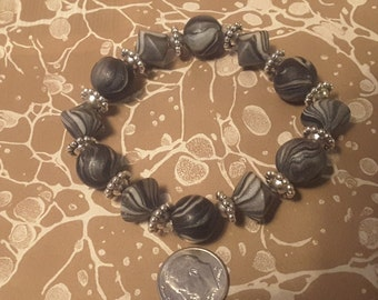 Black and White Stretch Bracelet with Pewter