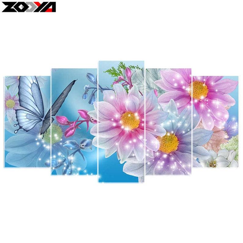 multipicture combination diamond painting kit Flower 1 2x15cmx30cm 2x15cmx35cm 1x15x40