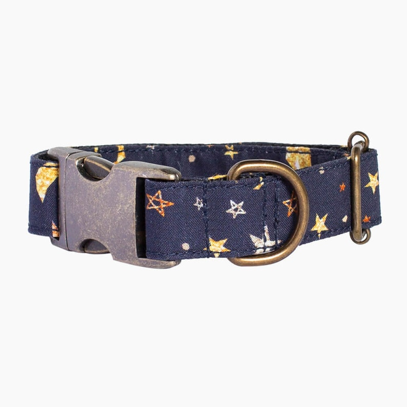 Martingale greyhound cotton collar optional leash Cosmic model Metal buckle dog cotton collar Handmade AdoraBarcelona stars planet deep blue