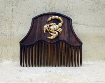 """Wooden comb for hair signs of the zodiac """" Scorpio """", Hair accessories of wood, Wooden comb, Wooden hair comb, Wood comb, Wood carving."""
