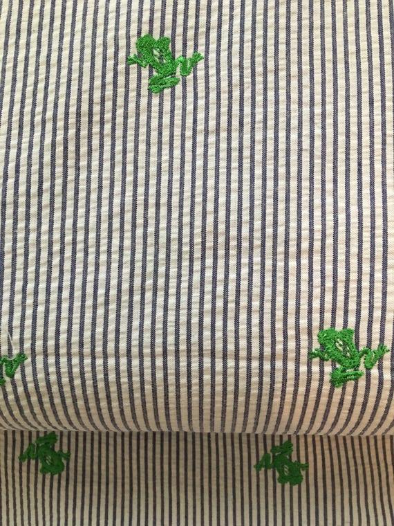 Seersucker Embroidered Frog Fabric 1 2 Yard Etsy