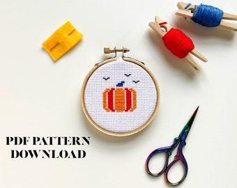 Modern Neon Pumpkin - Halloween - Cross Stitch Pattern - BEGINNER - DIGITAL DOWNLOAD