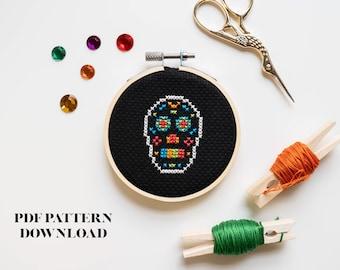 Sugar Skull/Calavera - Dia De Los Muertos - Halloween - Cross Stitch Pattern - DIGITAL DOWNLOAD